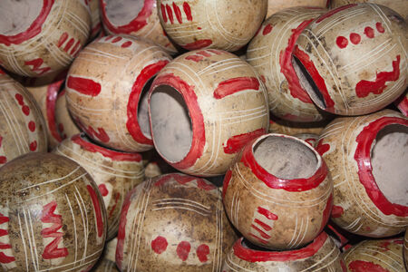 america's cup america: Calabashes cups pile for sale at Chichicastenango market Guatemala Stock Photo