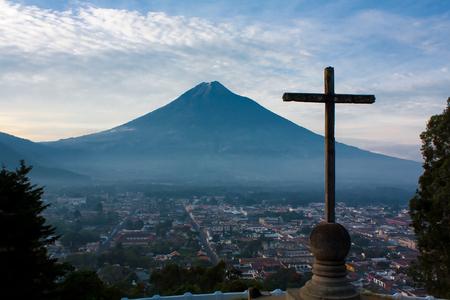 guatemala: Cerro de la Cruz over Guatemala valley opposing volcano Agua Stock Photo