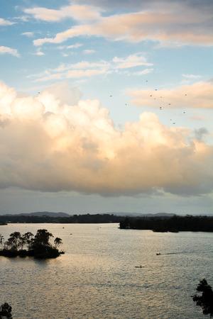 spaniards: Birds over water in Rio Dulce Guatemala