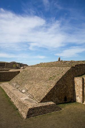 oaxaca: Monte Alban Oaxaca Mexico ancient ball game stadium one grandstand