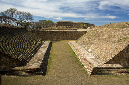 Monte Alban Oaxaca Mexico ancient ball game stadium huego de pelota Stock Photo