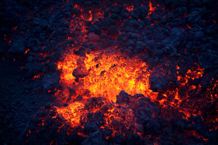 Hot and cold parts of lava, Pacaya volcano, Guatemala, top of the mountain Imagens