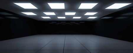 dark blue futuristic room dark mirror surface 3d render