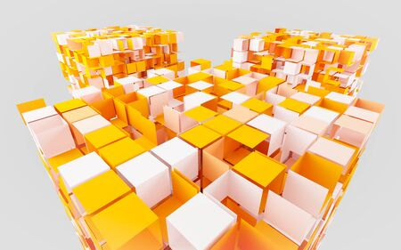 abstract orange and white cubes dissolving 3d render Stok Fotoğraf