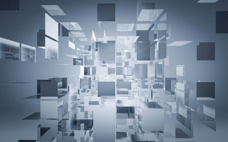 Abstract 3d render of dissolving white and blue cubes