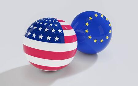 abstract European Union and USA flag on shiny billard balls 3d render illustration