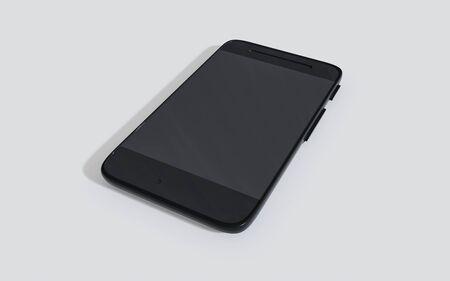 Modern dark black smartphone mobile 3d render illustration