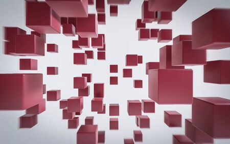 red flying cubes and boxes in in front of white background abstract 3 render illustration Stok Fotoğraf