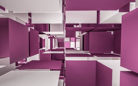 violet and white cubes abstract 3d render illustration 版權商用圖片