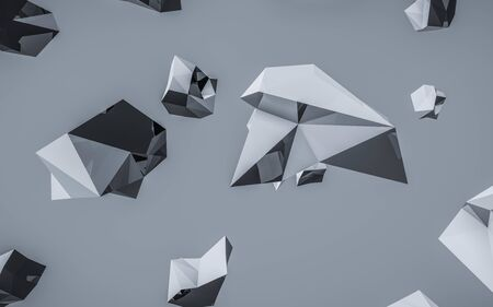 Abstract polygonal blue and grey space low poly dark background 3d render illustration