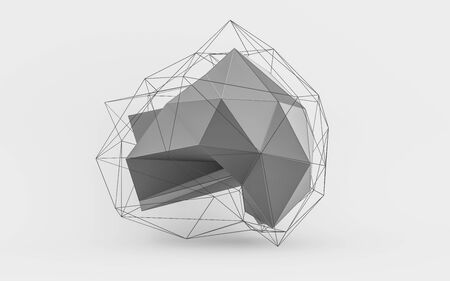 Geometric white polygonal structure with wire mesh, modern chaotic science and tech object 3d render illustration Stok Fotoğraf