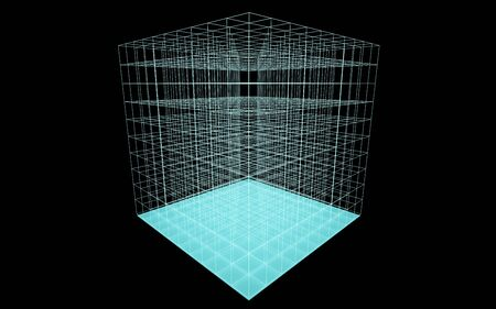 3d abstract abstract futuristic turqouise cube wire frame in dark space illustration render Banque d'images - 131733265