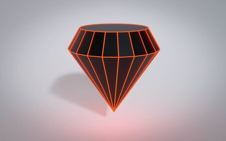 Glowing geometric random dark polygonal diamond with red wire mesh, modern science and tech object 3d render illustration