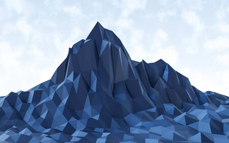 blue low poly mountain landscape 3d render illustration Banque d'images - 131733443