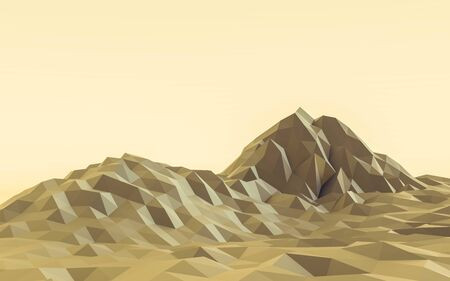 yellow low poly mountain landscape 3d render illustration