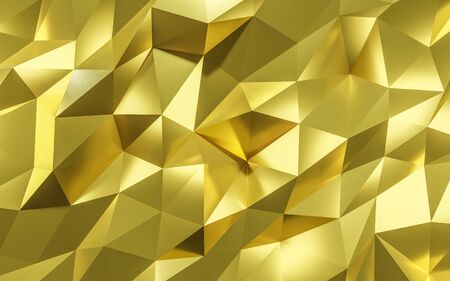 golden abstract polygonal Background Illustration Texture folded paper 3d render Stock Photo