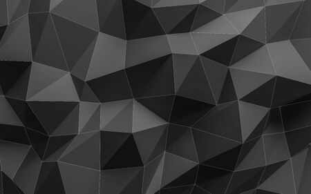 3d polygonal Surface Abstract squares dark and grey background Illustration Texture with white wire mesh Stock Photo