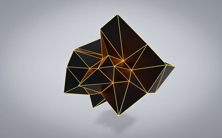 dark polygonal object with orange glowing edges surrounding grey wire mesh, modern chaotic science and tech object in front of grey background