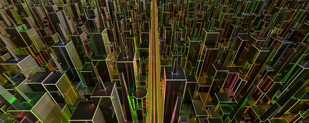 Abstraction, futuristic city concept of neon coloured red, blue, green and orange wire frame. Dark, abstract scene, neon rays. 3d illustration render