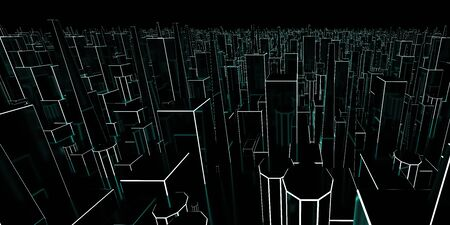 Abstraction, futuristic city concept of neon cyan wire frame. Dark, abstract scene, neon rays. 3d illustration render