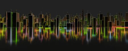 Abstraction, futuristic city panorama of neon coloured red, blue, green and orange wire frame. Dark, abstract scene, neon rays. 3d illustration render