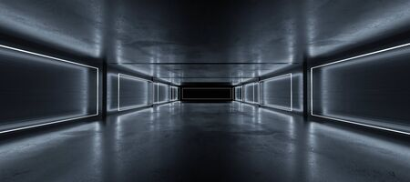 Underground concrete basement with modern abstract blue lighting industrial grunge concrete background 3d render illustration
