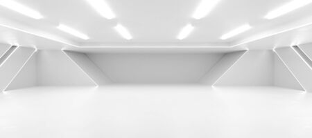 abstract white background architexture warehouse hall 3d render illustration Banco de Imagens