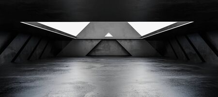 Underground concrete basement with day light industrial grunge concrete background 3d render illustration Banco de Imagens