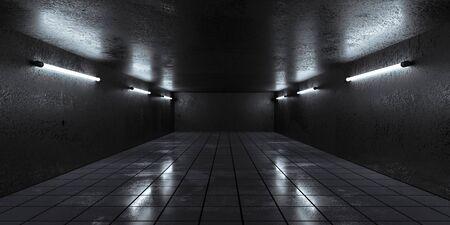 Underground concrete basement with low key blue lighting industrial grunge concrete background 3d render illustration