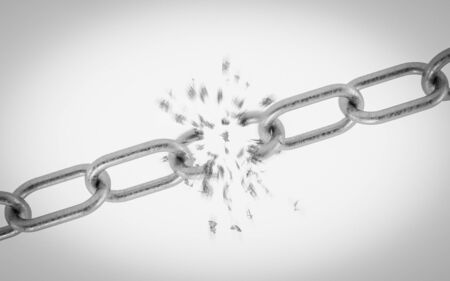 breaking metal chain on white background 3d illustration render
