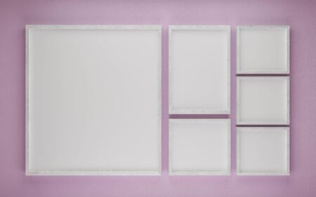 Multiple wooden picture frames to add your content with pink background 3d illustration render