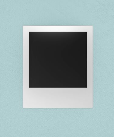 square blank empty photo card pinned on cyan background