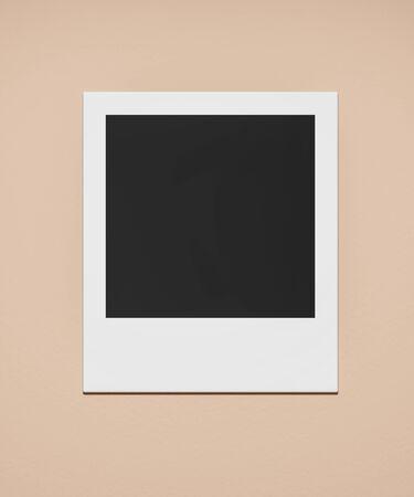 square blank empty photo card pinned on orange background