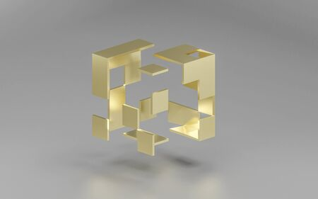abstact golden modern architecture background with a dissolving golden cube on grey background Zdjęcie Seryjne