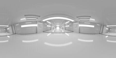 Full 360 degree equirectangular panorama hdri of modern futuristic white building interior Banco de Imagens