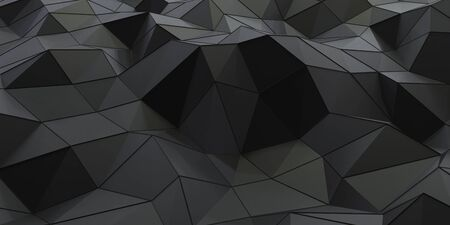 Abstract modern futuristic wallpaper black dark surface triangles with metallic wire mesh 3d render illustration