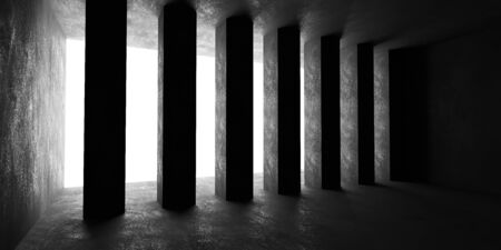 Concrete cubes basement wall with backlight day light industrial grunge concrete background