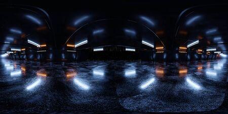 360 full equirectangular panorama black futuristic mirror architecture space ship technology 3d rendering illustration Stock fotó