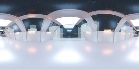 full 360 panorama space ship corridor with white futuristic design and reflections 3d rendering illustration Stock fotó
