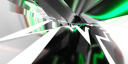 Abstract black geometric shape with green lights and white background 3d rendering illustration