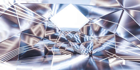Abstract retro silver geometric shape with blue lights and white background 3d rendering illustration