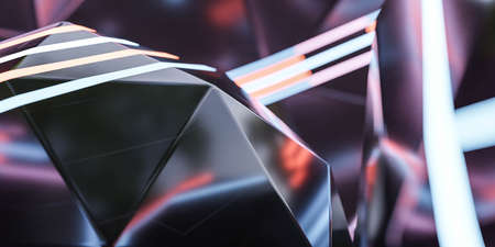 Abstract futuristic neon background with dark metal shapes 3d rendering illustration