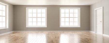 empty vintage living room interior with big windows and wooden floor 3d render illustration Archivio Fotografico