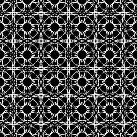 Seamless oriental pattern with Arabic ornaments. White lines on a black background.
