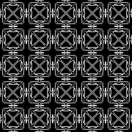 Seamless oriental pattern with Arabic ornaments. White lines on a black background. Foto de archivo - 129890891