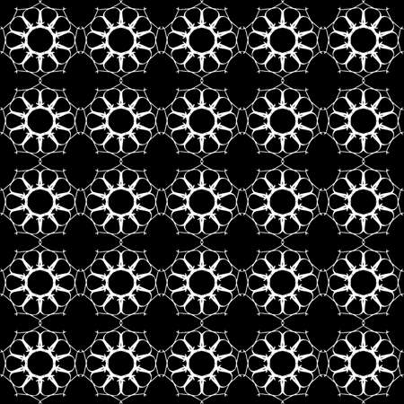 Seamless oriental pattern with Arabic ornaments. White lines on a black background. Foto de archivo - 129890892