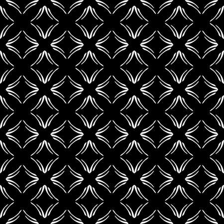 Seamless oriental pattern with Arabic ornaments. White lines on a black background. Foto de archivo - 129890894