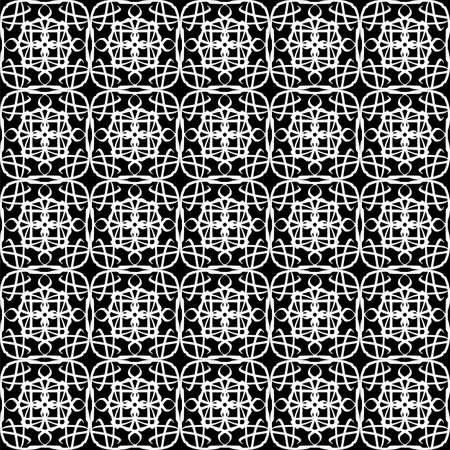 Seamless oriental pattern with Arabic ornaments. White lines on a black background. Foto de archivo - 129892360