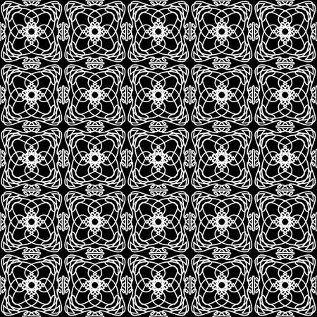 Seamless oriental pattern with Arabic ornaments. White lines on a black background. Foto de archivo - 129892357