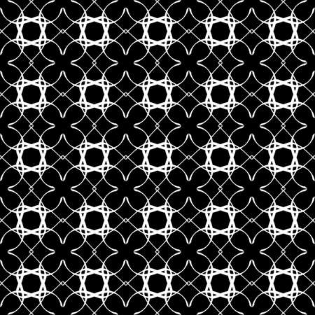 Seamless oriental pattern with Arabic ornaments. White lines on a black background. Foto de archivo - 129892353